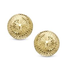 Dome Button Stud Earrings in 14K Gold - Zales