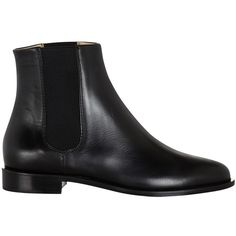 Hobbs Logan Leather Chelsea Ankle Boots (£179) ❤ liked on Polyvore featuring shoes, boots, ankle booties, black, black leather bootie, leather booties, black boots, black booties and black bootie