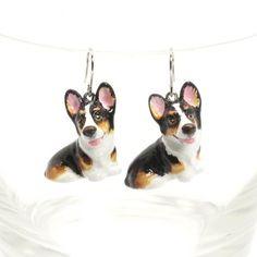 http://stores.ebay.com/madamepOmm-BlueWitch  CORGI DOG LOVER CERAMIC EARING CHARM PENDANT GIFT HANDMADE ACCESSORIE 00003.