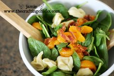 I LOVE this yummy Spinach Tortellini Salad, especially in the summer and just had to share it with you! I received this salad recipe at an exchange
