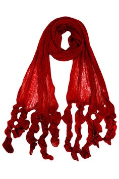 Long Scarf With Ruffled Tips