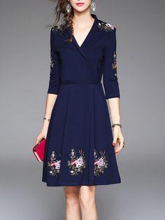 Shop Midi Dresses - Dark Blue V Neck Floral 3/4 Sleeve Embroidered Midi Dress online. Discover unique designers fashion at StyleWe.com.