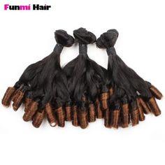Funmi Hair 100A Brazilian Spring Curl Ombre T1B/4 Virgin Human Hair 3 Bundles Weave Extensions Top Grade Quality 8 8 8 T1B/4