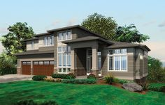 This 3 bedroom contemporary home has an outdoor living space with built in BBQ. Contemporary House Plan # 441067.