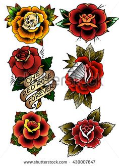 Traditional Tattoo Flowers Set Old School Tattooing Style Ink Roses Más