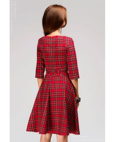"""Красное клетчатое платье с принтом """"шотландская клетка"""" и пышной юбкой недорого в интернет-магазине 1001DRESS"""