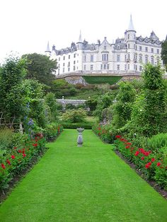 Dunrobin Castle, is a stately home in Sutherland, in the Highland area of Scotland, and the family seat of the Earl of Sutherland and the Clan Sutherland. It is located 1 mile (1.6 km) north of Golspie, and approximately 5 miles (8.0 km) south of Brora, overlooking the Dornoch Firth. Dunrobin's origins lie in the Middle Ages, but most of the present building and the gardens were added by Sir Charles Barry between 1835 and 1850. Some of the original building is visible in the interior…