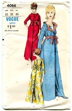 collar detail_1960s Vogue 6066 - Portrait or Standing Oval Collar Robe