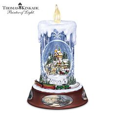 Thomas Kinkade Lit Musical Crystal Candle With Moving Train. First-ever Thomas Kinkade crystal candle with flickering tea light topper, festive village inside, moving train, holiday music. Christmas Table Centerpieces, Christmas Candles, Christmas Decorations, Electric Tea Lights, Thomas Kinkade Christmas, Victorian Christmas, Christmas Houses, Christmas Music, White Christmas