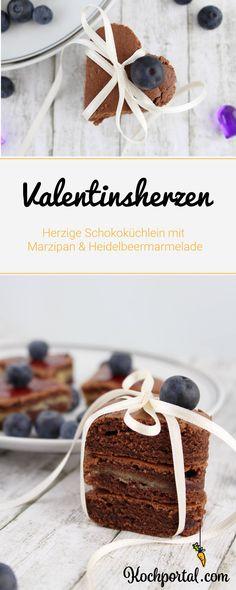 Rezept - Schokoladige Valentinsherzen - Herzige Schokoküchlein mit Marzipan und Heidelbeermarmelade