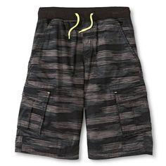 Boys' Pull-On Cargo Short Gray Paint Stripe Circo M, Boy's, Size: Medium, Silver