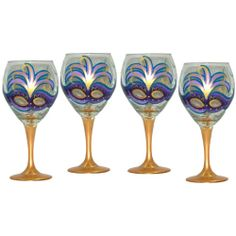 Balloon Wine Glasses with   Mardi Gras Design - Set of 6, 4 or 2 - medium: Glass, glass paints