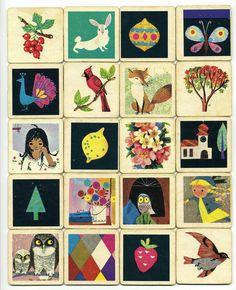 "From vintage Waddington Games ""Memory Game"", illustrator Alain Gree"