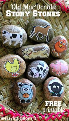 Messy Little Monster: Make Farm animal story stones : Free Printable