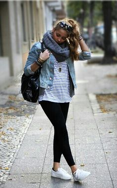 dd727576295 Can t wait 4 winter. Layers! White Keds Outfit