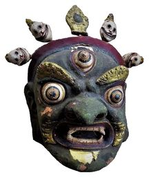 Old Tibet mask, Dharmapala mask, color pigments on burlap and clay Future Of Science, Himalayan, Tribal Art, Tibet, Nepal, Masks, Burlap, Folk, Skull