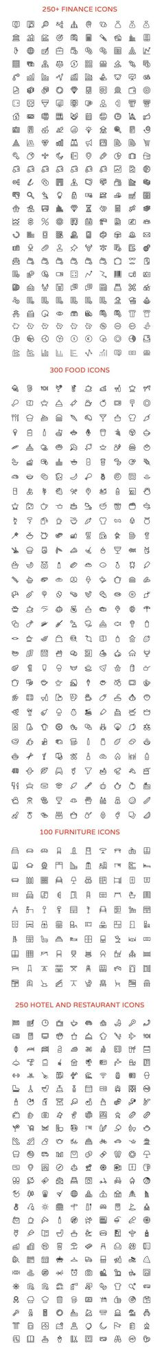 2800+ Line Vector Icons Bundle by Creative Stall on Creative Market