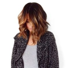 Chocolate brown with caramel balayage ombre lob
