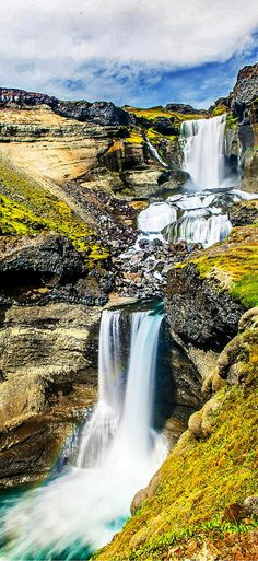 Ofaerufoss waterfall in southern Iceland!  There are so many waterfalls in Iceland it can be hard to decide which ones to visit.  Click through for your guide to Iceland's BEST waterfalls!