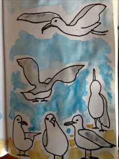 #art #draw #seagull #aquarelle