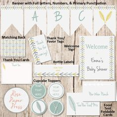 Tribal Party Decoration Bundle   Arrow and Feather Party Pack   Personalized Digital Printable File   Mix & Match – Individual or Bundle by RosePaperPress on Etsy