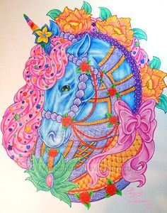 Unicorn Tattoo by ~Metacharis on deviantART Carousel Circus Horse Pony Decorated with Fondant and Frosting, Icing, flowers, bows, and sprinkles