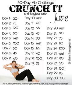 30-Day Ab Challenge: Crunch It - a free monthly workout calendar. Full details here:http://shrinkingjeans.net/2013/05/30-day-ab-challenge/ #fitness #health #workout @shrinkingjeans