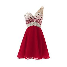 Stylish Red Homecoming Dresses Chiffon Draped One Shoulder Beaded A line Short Cheap Cute Homecoming Dresses