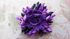 Purple Black Hair Bow, Korker Bows, Hair Bows, Girl Hair Bows, Baby Hair Bows, Bows - pinned by pin4etsy.com