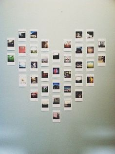 Polaroid heart wall art is so cute!