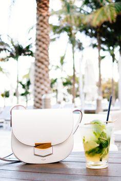 Celine Small Trotteur Bag in White grainded calfskin