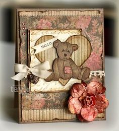 Shabby Sweet Hello Teddy Card... Stamp a Sweet Impression:  See how to details here. Taylored Expressions Stamps