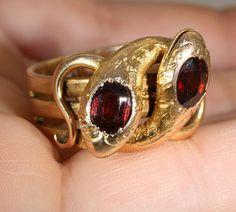 Antique French 18k Garnet Double Snake Ring c.1880