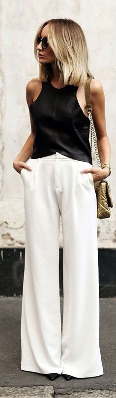 d665fbf5b7c37b 40+ Outfits You Must Try. White TrousersWhite Palazzo PantsWhite Wide Leg PantsTailored  TrousersDress CodesLeather TopsWhite ChicBlack ...