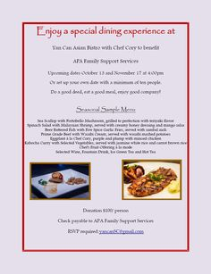 Yan Can Asian Bistro with Chef Cory benefits APA Family Support Services!