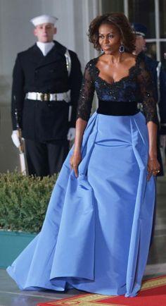 The Look: Michelle Obama Wears Carolina Herrera at the State Dinner   Vanity Fair