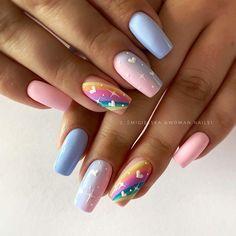 Bright Summer Acrylic Nails, Best Acrylic Nails, Acrylic Nail Designs, Best Nail Art Designs, Pink Nail Art, Pastel Nails, New Nail Art, Stylish Nails, Trendy Nails