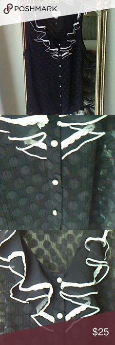 """Sexy  and classy sheer top Black sheer polka dots with white lace trim . Sheer but black so not overt plus the design adds to coverage. Size 10 is medium.  19"""" across bust. 24"""" long. Casual or dressy. Never worn. ECI Tops"""