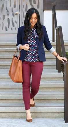 bd182143bf This would be perfect if the pants were straight-cut slacks instead of the  skinny jean pant cut. Putting Me Together  Navy printed blouse+burgundy ...
