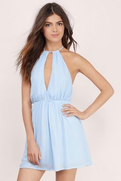 Light Blue Dresses, Tobi, Light Blue Harvest Moon Skater Dress