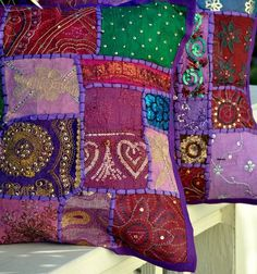 Gypsy Bohemian Pillow Cover - Vintage Sari Fabric - Purple - I halve two purses in the same style as this, but in green and red.