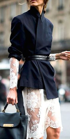 Black Blazer On White Sheer Lace Dress Fall Street Style Inspo #Fashionistas
