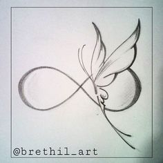 #butterfly #infinity #sketch #tattooedgirl #tattoosocietymagazine #tattoo…