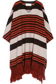 Fringed striped wool-blend poncho