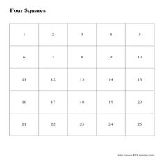 Four Squares: This is a fun review game for Intermediate levels.