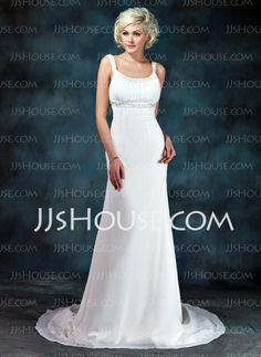 Empire Scoop Neck Court Train Chiffon Wedding Dress With Ruffle Beadwork (002001673) - JJsHouse