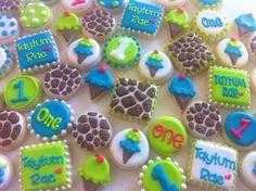 Giraffe print and ice cream first birthday cookies