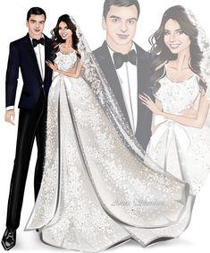 Este posibil ca imaginea să conţină: 4 persoane Fashion Drawing Dresses, Fashion Illustration Dresses, Fashion Sketches, Girly Drawings, Wedding Illustration, Couple Art, Diy Wedding Decorations, Wedding Anniversary, Wedding Cards
