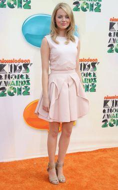 Emma Stone StyleChi Blush Pink Dress Nude Ankle Strap Heels
