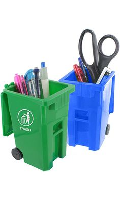 Junipers Mini Curbside Trash & Recycle Can Set Pencil Cup Holder Best Price